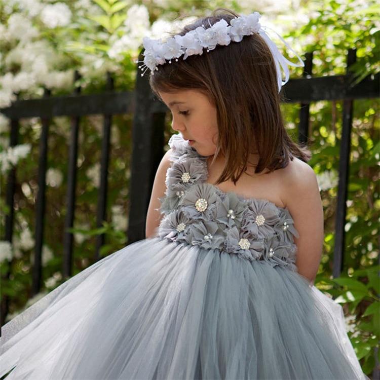 lovely girls grey chiffon flowers tutu dress kids fluffy