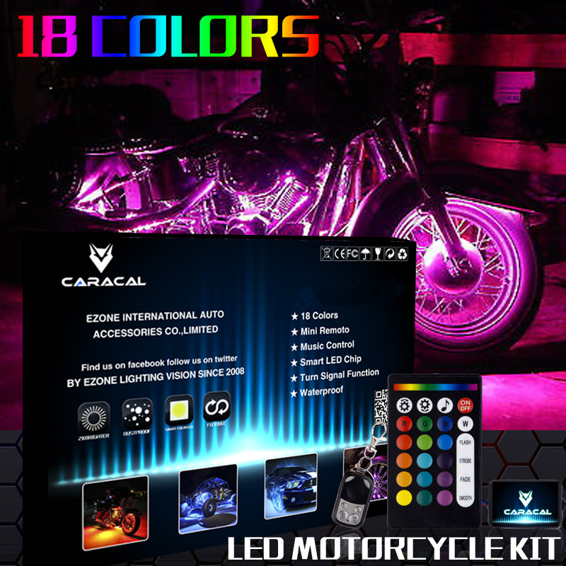 20pcs Motorcycle Deluxe LED Light Strips Kit All-Color Neon Accent Glow Body