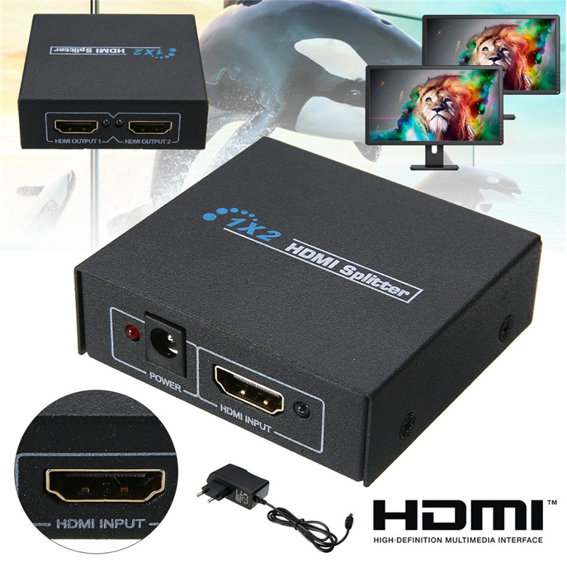 New Ultra HD 4K 1X2 HDMI Splitter 3D Full HD 1080p 1 In 2 Out Amplifier Display For DTV HDTV Mayitr