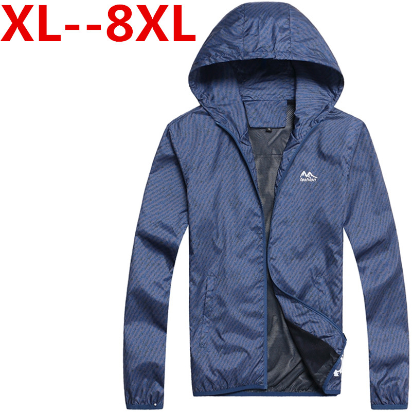 2017 Plus Size 6XL 7XL 8XL 9X Hooded Men s Jackets Autumn Spring Casual Thin Mens