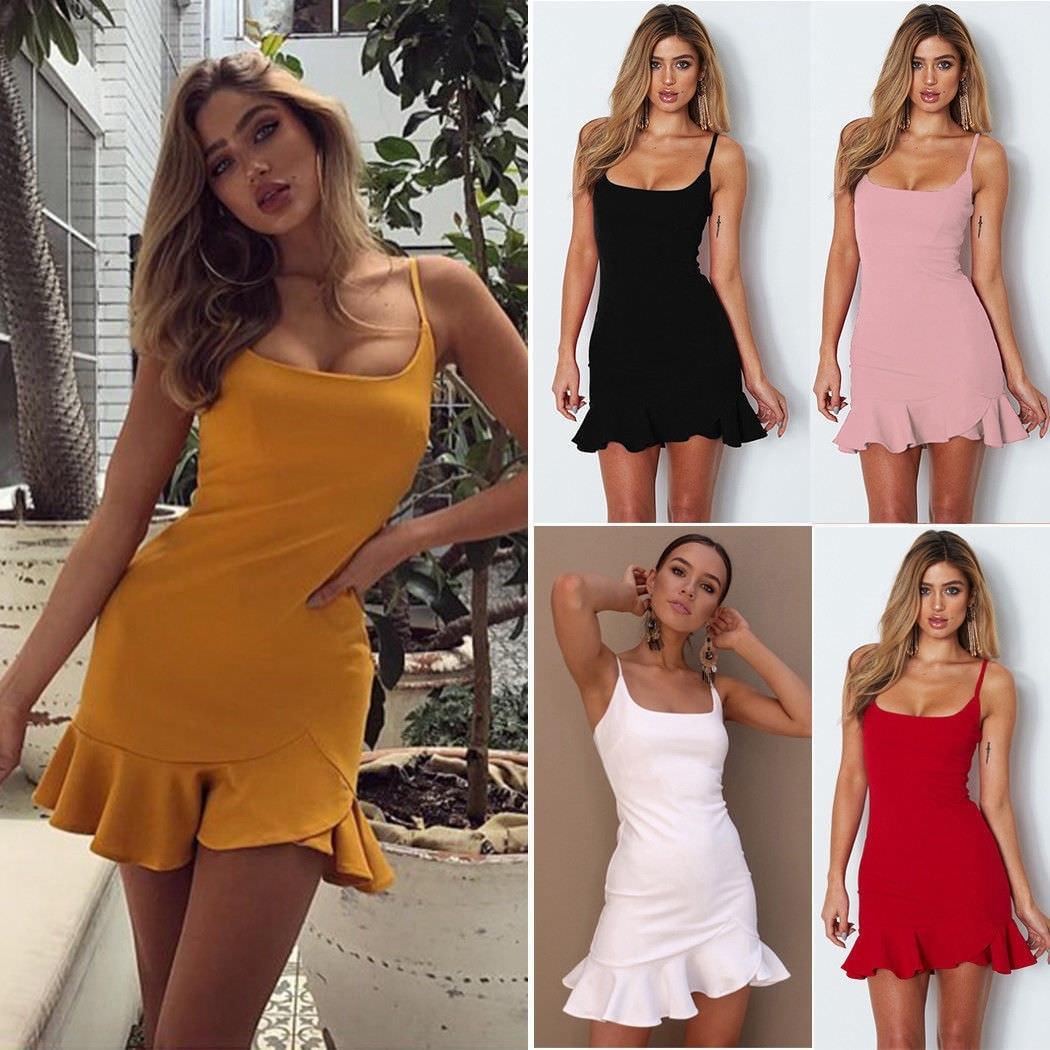 New 2019 Women Spaghetti Strap Dress Women Solid Sleeveless Thin Female Summer Sexy Mini Dresses in Dresses from Women 39 s Clothing
