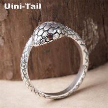 Uini-Tail hot new 925 sterling silver retro cute snake open ring trend fashion dynamic sweet small animal high quality jewelry(China)