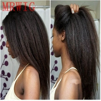 MRWIG Long Kinky Straight Real Hair Natural Looking Free Part 26in Black/Brown/Blonde Hair Color Synthetic Front Wig