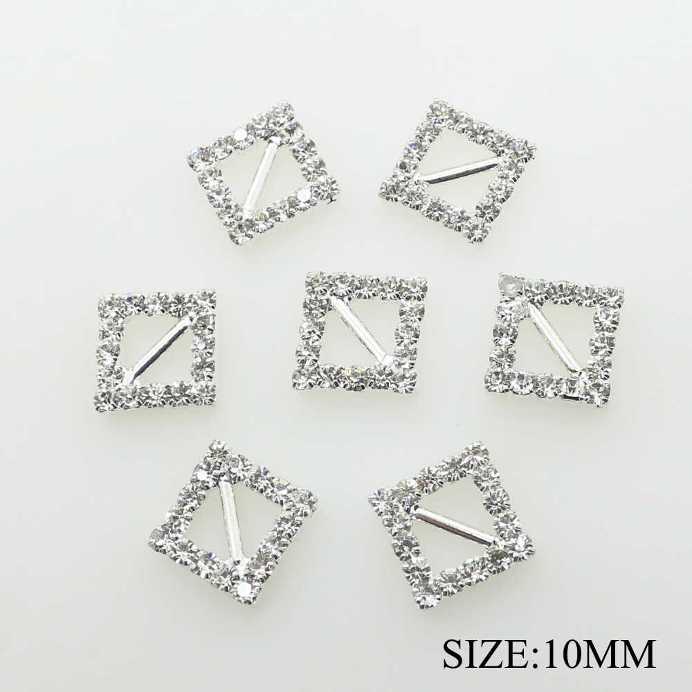 10mm Square Rhinestone Buckles Crystal Hooks For Dresses
