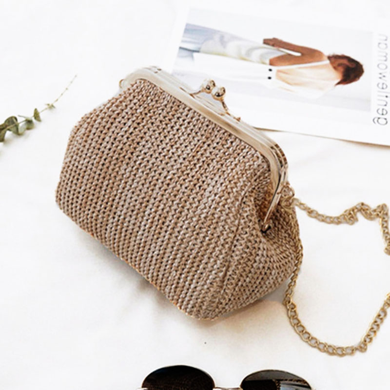 Summer Women Handbag Fashion Straw Shell Bags Ladies Beach Straw Bag Female Rattan Bag Small Bags For Women Rattan Handbags W407 summer straw beach bag women circle ring handbags female string waterproof casual big tote ladies messenger bags for vocation