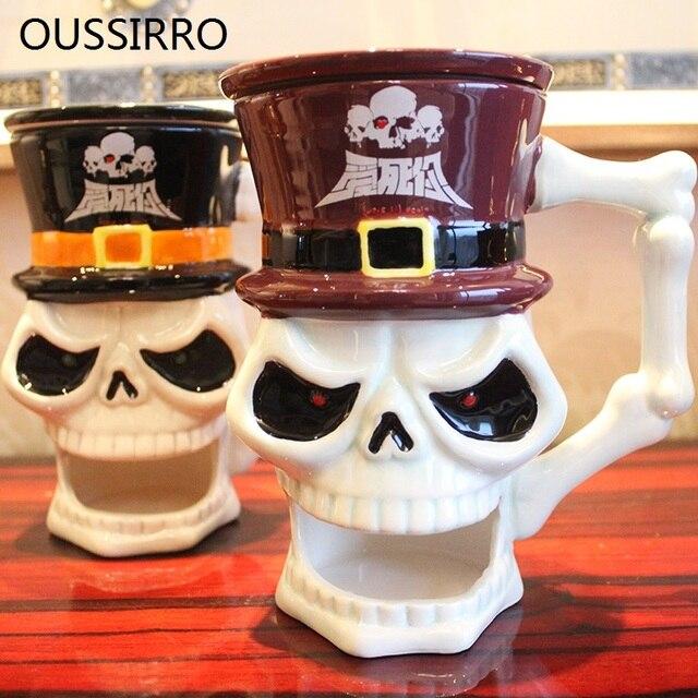 Creative Kilo Coloured Drawing 3D Skull Skeleton Ceramic Mug With Lid With Spoon Milk Coffee Cup Halloween Nice Gifts Drinkware