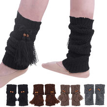 2018 New Women Winter Knitted Leg Warmer Fashion Bohemia Tassels Stretch Acrylon Wool Crochet Knit Boot Socks Toppers Cuffs(China)