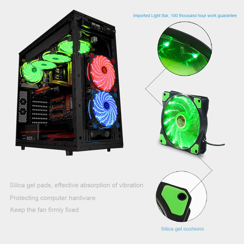 New Ultra Silent LED Case Fans Light Up 15 Leds Cooling Anti-Vibration PC Computer Heatsink Cooler Fan 120 x 120 x 25 mmEM88 new fan e i5 aluminum htpc computer case e350 h61 hd perfect match i3 i7 e i5