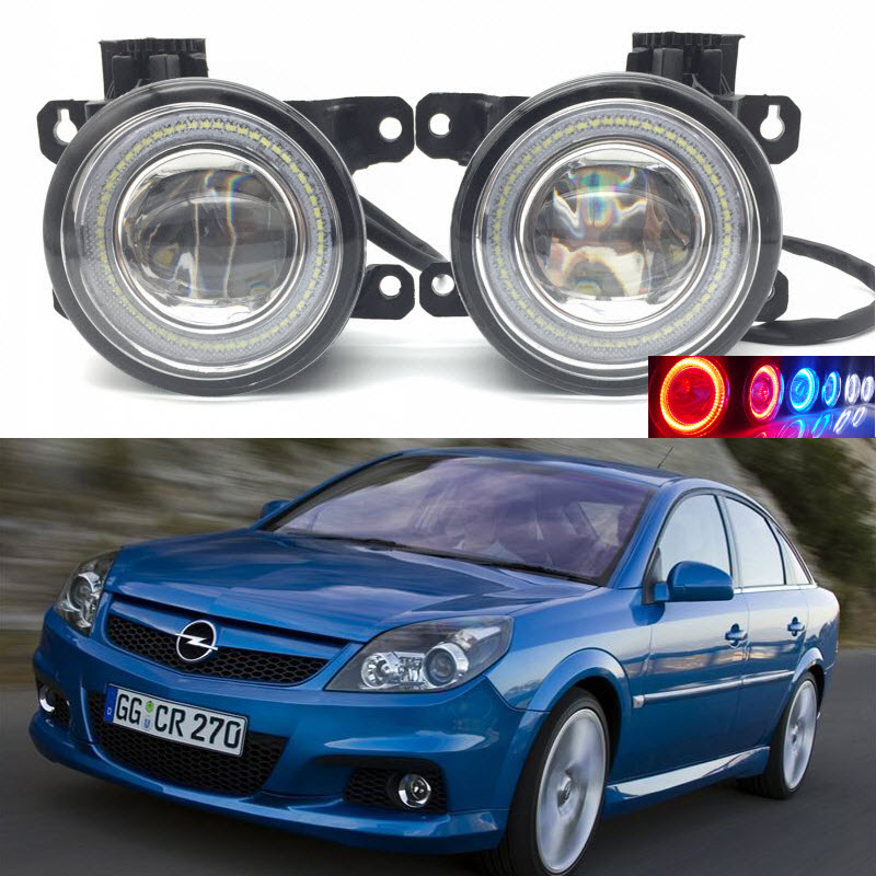 For Vauxhall Opel Vectra C OPC GTS 2005-2008 2-in-1 LED 3 Colors Angel Eyes DRL Daytime Running Lights Cut-Line Lens Fog Lights for opel astra h gtc 2005 15 h11 wiring harness sockets wire connector switch 2 fog lights drl front bumper 5d lens led lamp