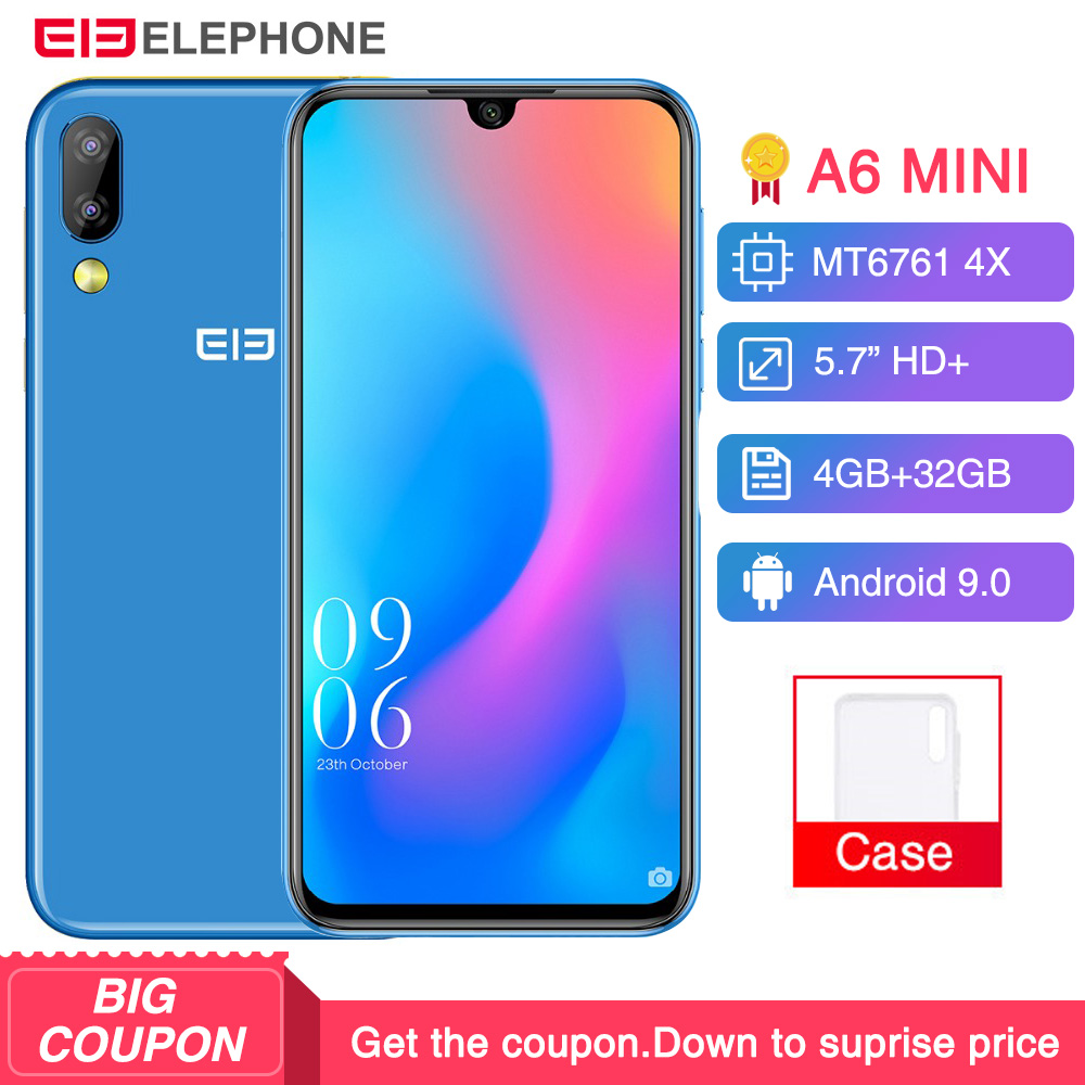 Elephone A6 Mini Android 9.0 MT6761 Quad Core Smartphone 5.71 Inch waterdrop Screen HD+ 4GB 32GB/64GB 16MP 3180mah Mobile Phone