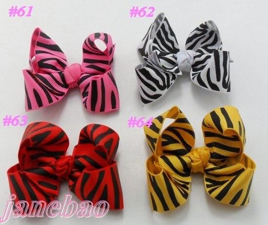 Зебра, банты для волос, лента 500 шт., смешанные цвета, 3 дюйма, модный бутик, банты для волос, шевронная лента, банты для волос