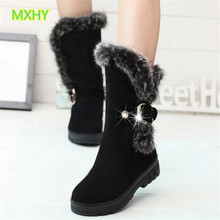 MXHY Bigs Children Boots Thick Warm Women Cotton-Padded Suede Buckle Girls Snow Boots kids Young female student Boots