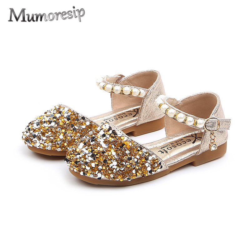 Mumoresip Spring Summer Kids Shoes For Girls Toddlers Baby Girl Sandals Bling Glitter Rhinestone Beaded Dancing Brand Shoes Chic