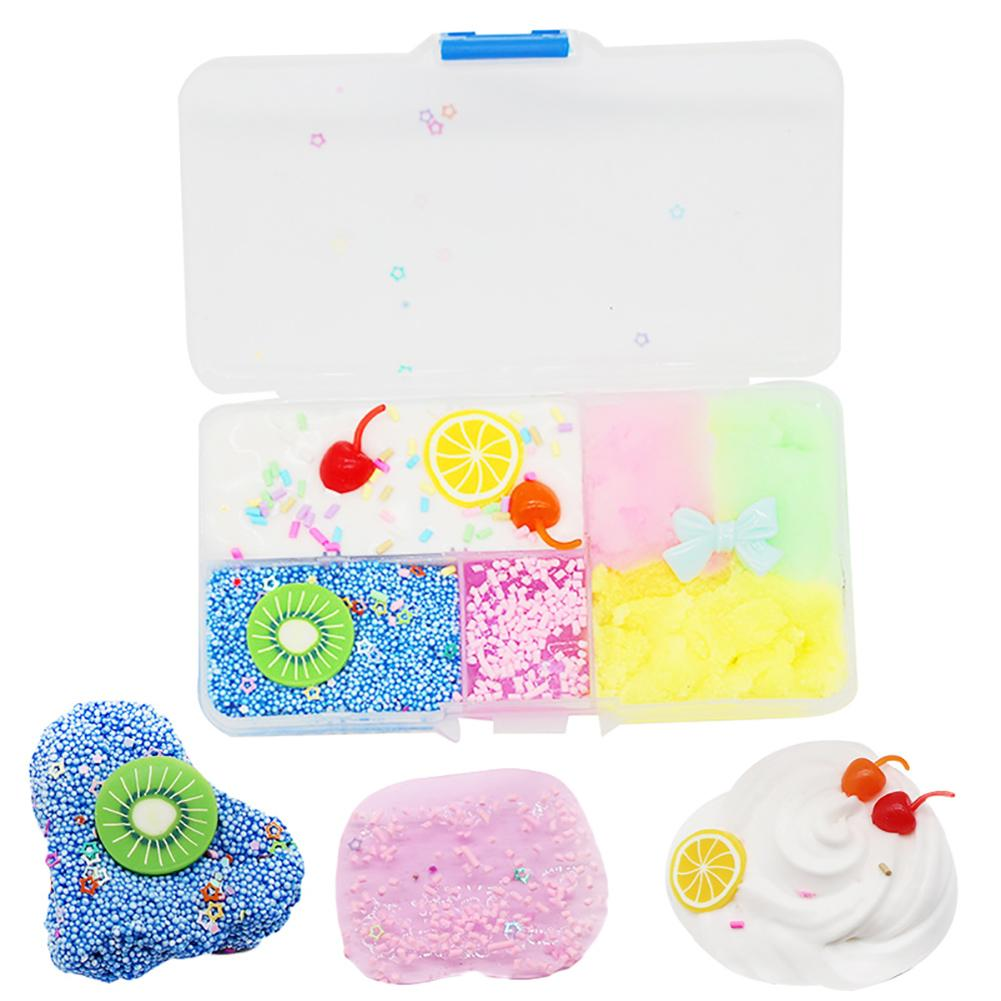 Fluffy Foam Slime Clay Box Kiwi Lemon Fruit Plate Cloud Brushed Slime Squishies Clay Decompression Kids Toys For Children Adult