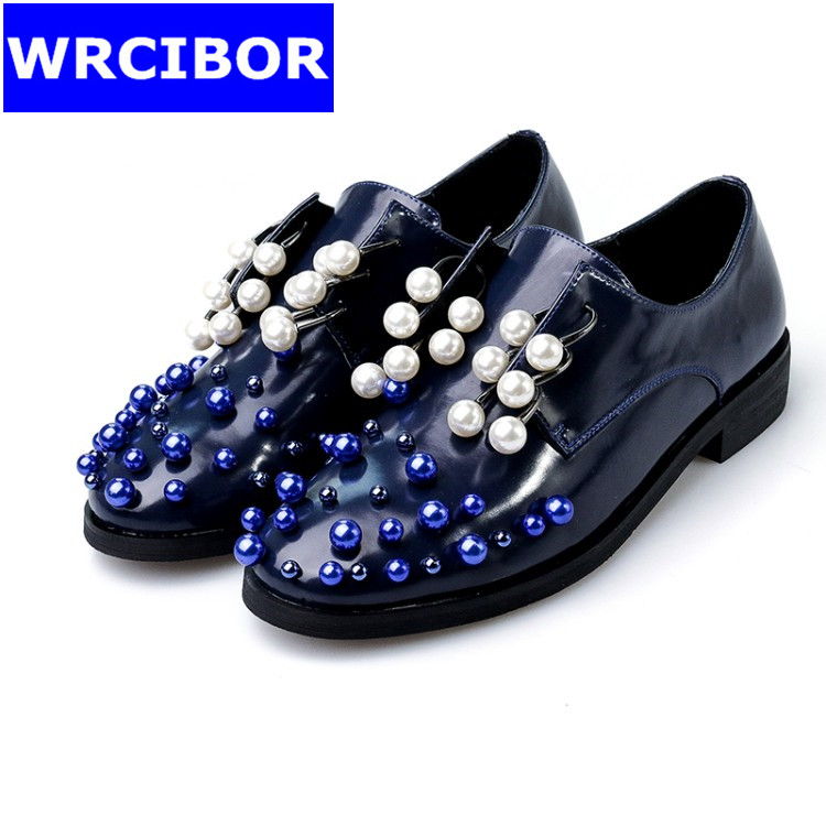 Luxury Pearl Oxford Shoes font b Woman b font flats Blue white black 2017 Fashion crystal
