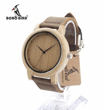 Bobo bird l19 relojes para las mujeres diseñador de la marca banda de cuero de madera de bambú de madera cara del dial de reloj de cuarzo ocasional oem dropshipping