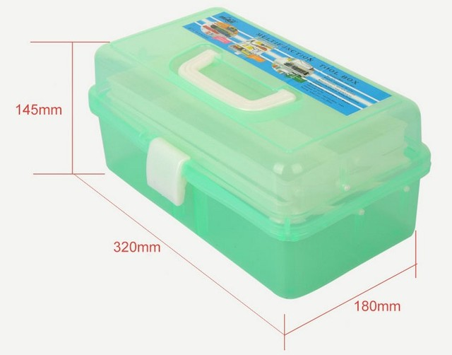 1PC New Clear Rectangle Nail Art Makeup Brush Pen Container holder Tool Case Plastic Stationery Holders Empty Storage Box