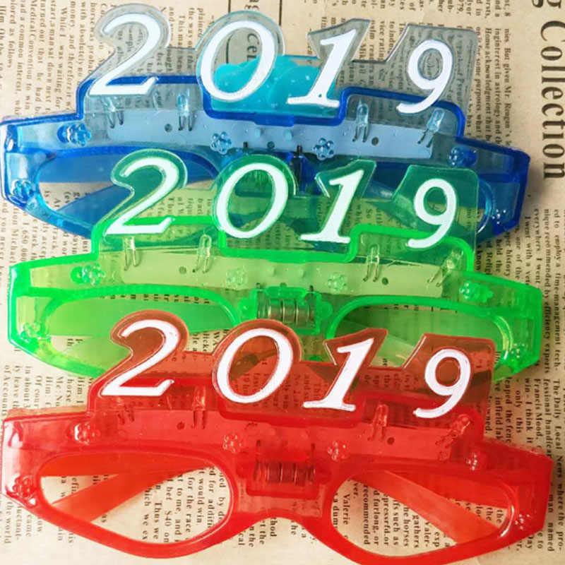 817d6ef9a65 ... 12pcs lotCreative Christmas New Year 2019 LED Light Glasses Party Ball  Eye Wear Funny Novelty ...