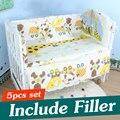 5 PCS 100X60 Algodão Conjunto Fundamento Do Bebê Berço Do Bebê Jogo Do Fundamento Crianças berço Bumper Bebê Bumper Cama Berço Define Com Mat Travesseiro CP01