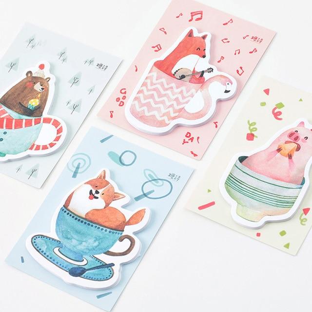 Cute Bear Fox Post It Note Memo Pad Kawaii Cartoon Pig Dog Notepads Paper Stickers Korean Stationery Free Shipping 3835