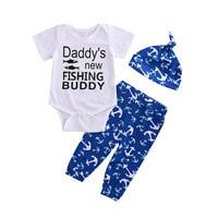 3PCS Set Newborn Baby Girls Boy Tops Romper Long Pants Hat Outfits Clothes Set Toddler Infant
