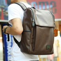 Backpack Men's Double shoulder Wrapping Black Soft Leather Men's Korean Leisure Fashion Student Bag Computer Travel Bag