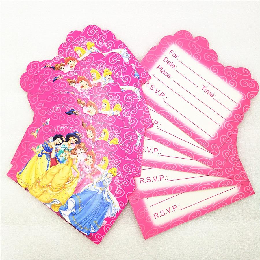 Us 1 46 25 Off 10pcs Ariel Snow White Belle Cinderella Jasmine Aurora Princess Birthday Party Supplies Invitation Card Baby Shower Decoration In