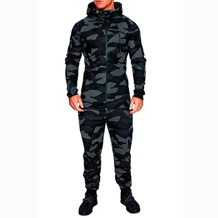Merk Camouflage Trainingspak Mannen Casual Hooded Sportkleding 2PC Rits Heren Set Jogging Sweater + broek Trainingspak Chandal Hombre