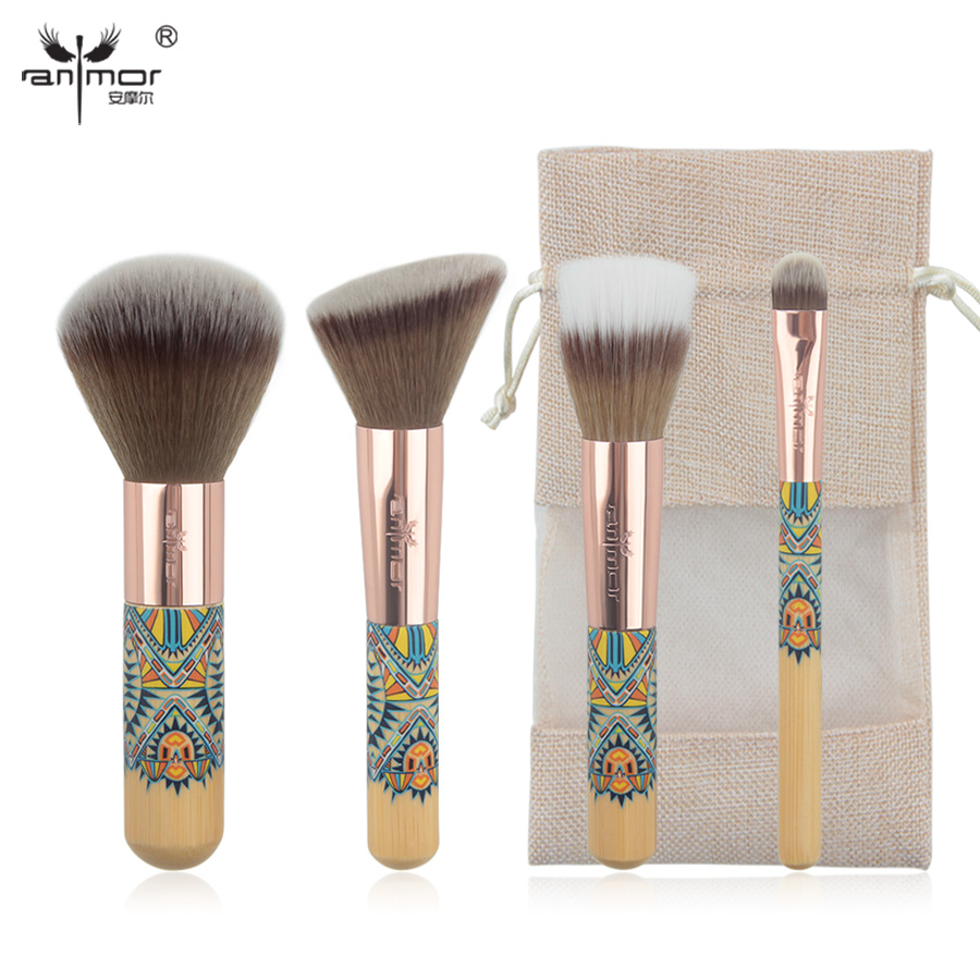 Anmor New Travelling Makeup Brush Set 4 Piece Fantasy Makeup Brushes Synthetic Powder Blush Eyeshadow Make Up Brushes CH001 anmor make up brushes professional powder duo fibre eyeshadow makeup tool synthetic makeup brushes set with black bag