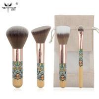 Anmor New Travelling Makeup Brush Set 4 Pieces Fantasy Makeup Brushes Synthetic Powder Blush Eyeshadow Make