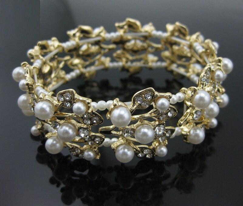 2016 Exaggerated Rhinestone Crystal Pearl Cuff Bracelets Hip Hop Braslets Carter Love Bracelet Wedding Jewelry