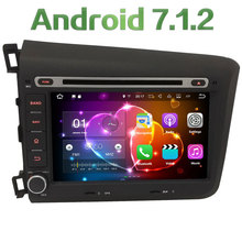 "8"" Quad Core Android 7.1 2GB RAM 4G WiFi SWC DAB+ Multimedia Car DVD Player Radio Stereo GPS Screen For Honda CIVIC 2012 2013"