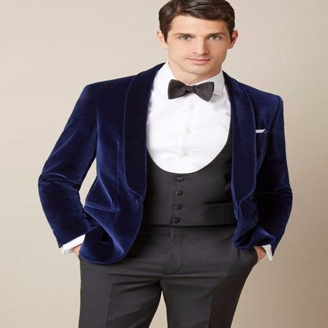 2017 Latest Designs Blue Velvet Blazer Groom Tuxedos Fashion Mens ...