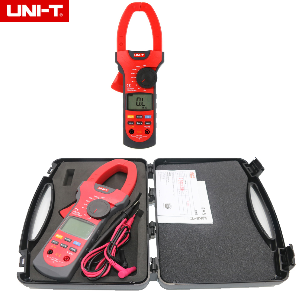 UNI-T UT209A True RMS Professional Auto/Manual Range 4000 Counts 1000A Digital Clamp Multimeters with tool box uni t ut216c 600a true rms digital clamp meters auto range w frequency capacitance temperature