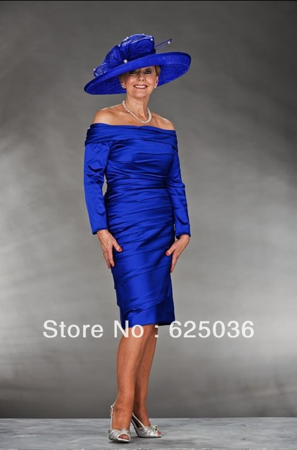 Grand Wedding Royal Blue The Bride Groom Grandma Dress Long Sleeved Word Shoulde M62