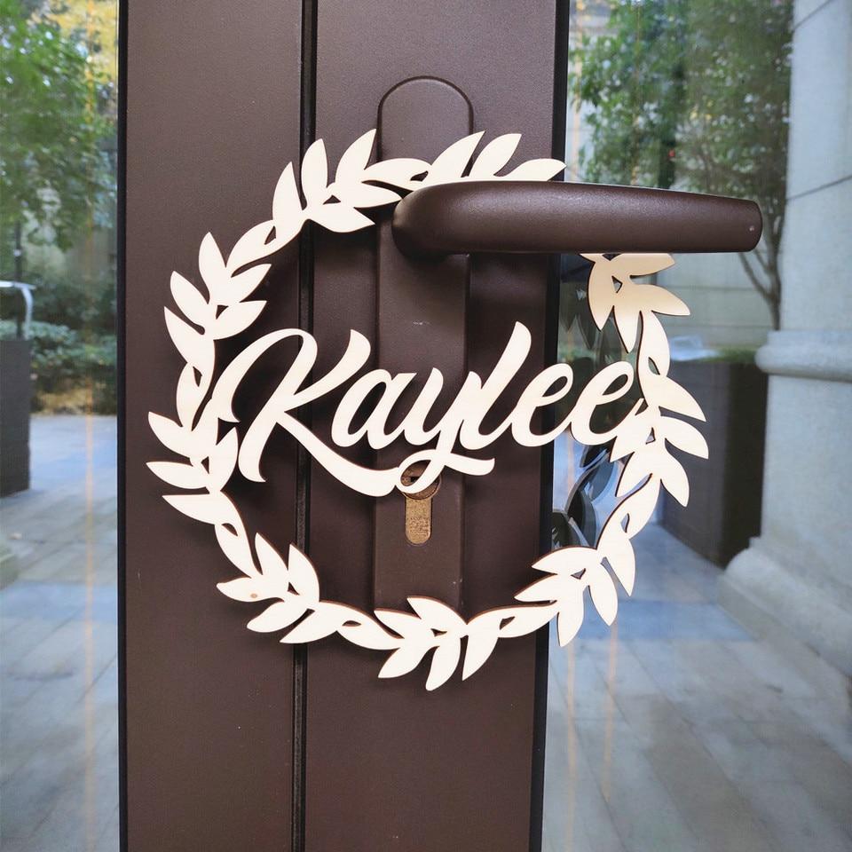 Wreath Fl Circle Name Rustic Sign