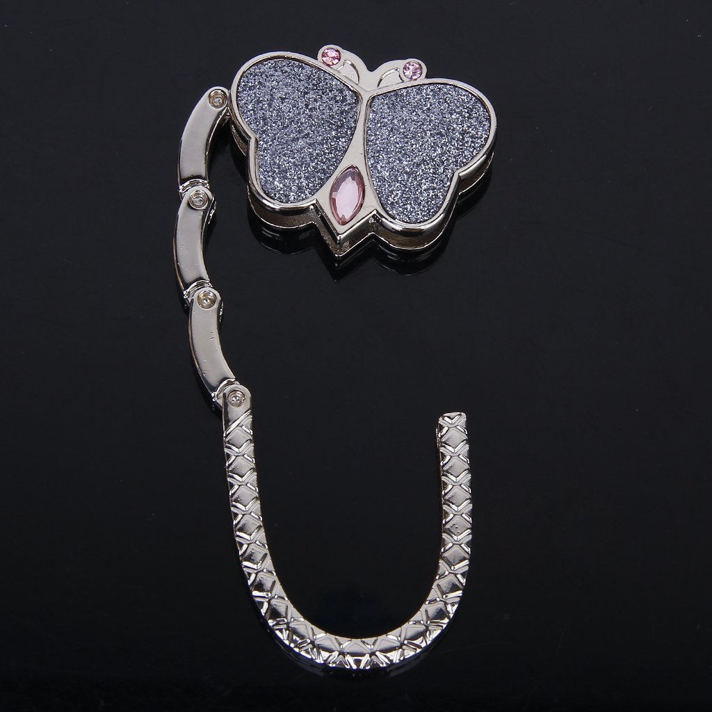 Butterfly Folding Hanger Holder Hook Handbag Bag Rhinestone Robe Hooks Home Improvement silver
