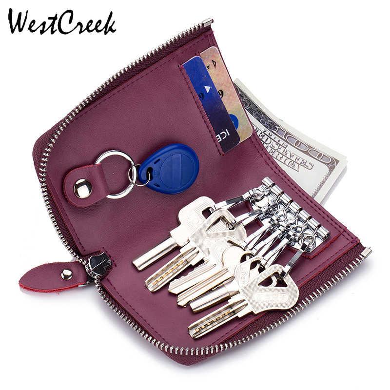 Bolsa de tarjeta de crédito con 6 llavero con cremallera para mujer de cuero de marca WESTCREEK