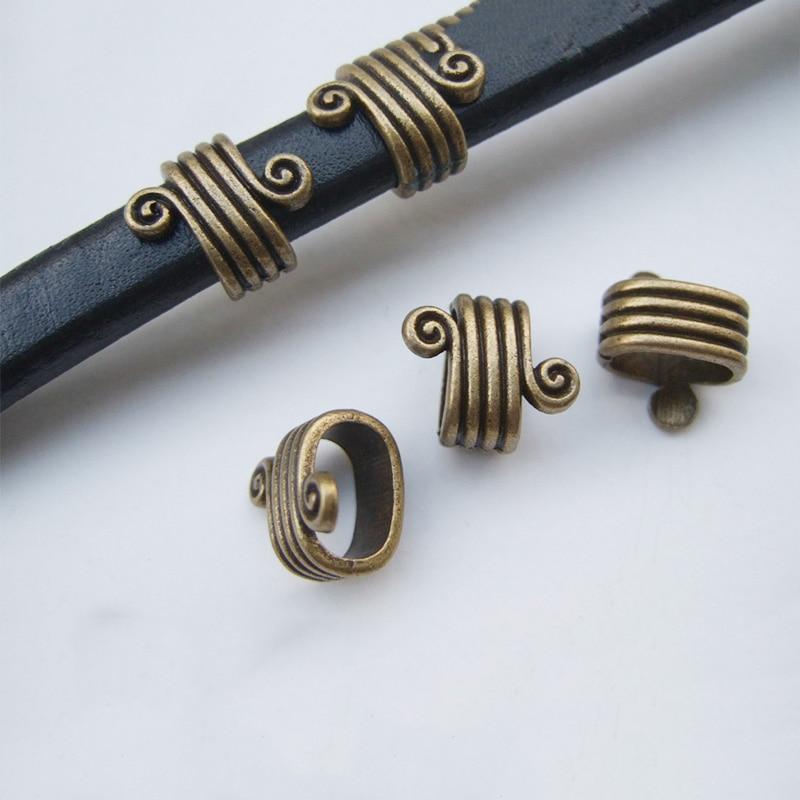 19932eb3635f9b 10 Pcs antyczny brąz/miedzi spirali paski Tube slajdów Spacer dla skóry  naszyjnik bransoletka biżuteria DIY 11x7mm