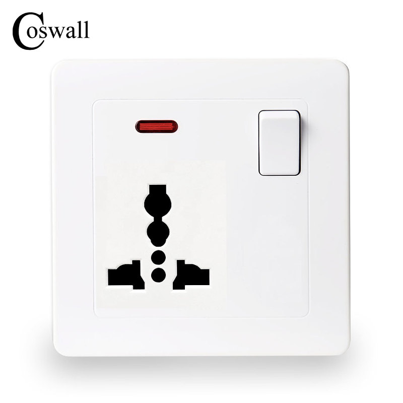 Coswall Wall Power Socket 13A Universal 3 Hole Outlet Switched With Red Neon Indicator british mk british unit power supply socket metal 13a power outlet british standard unit socket
