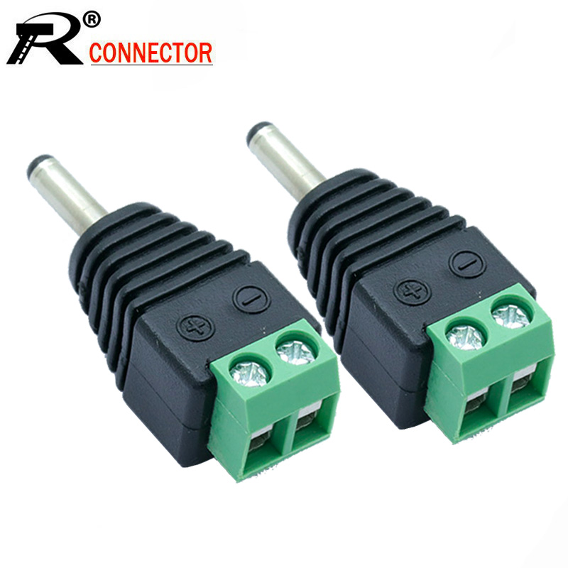 10Pcs 1.35mm x 3.5mm Male DC Jack 3.5 *1.35mm 2 Pin Screw Block Terminal Power Plug Connector for Security CCTV Camera System