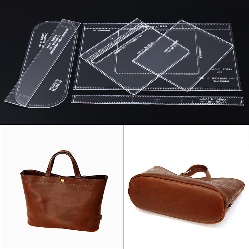 Handmamde Handbag Acrylic Template Leather Pattern DIY Hobby Leathercraft Sewing Pattern Stencils 31*24*13cm