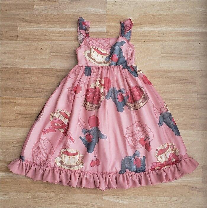 2018 New Girls JSK Lolita Dress Cherry love rabbitr Cosplay Costumes High Quality  Cute Dress