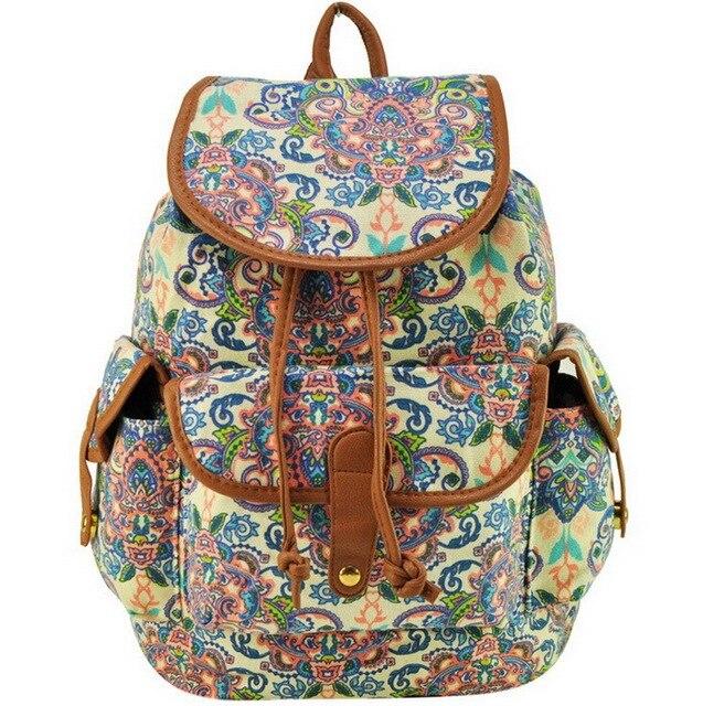 3454494a424 Hot Sale Casual Horse Flower Geometric Animal Print Canvas Backpack Women  Bag Lady Female Rucksack Mochila Shoulder Bags