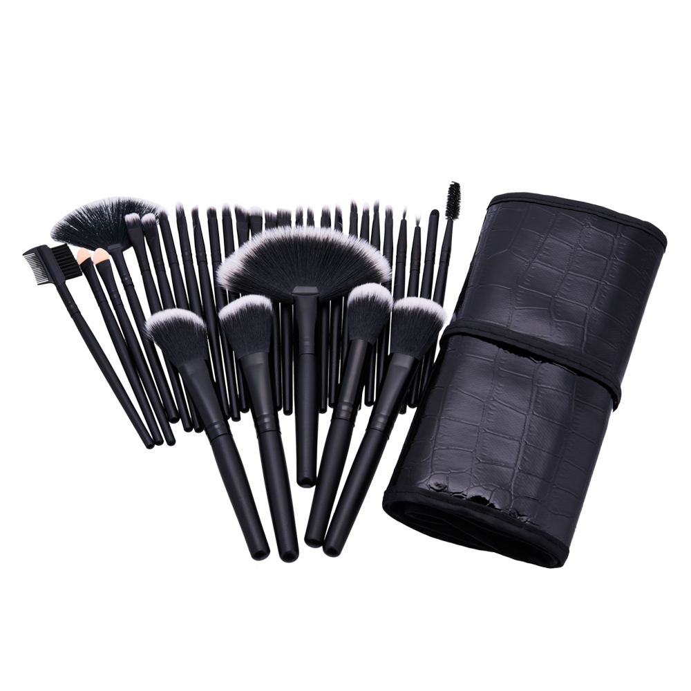 32pcs Makeup Brushes Set Black wood handle Eye Foundation Powder Eyeshadow Eyeliner Blush Brush Make Up Cosmetic Tools Kit 24pcs makeup brushes set cosmetic make up tools set fan foundation powder brush eyeliner brushes leather case with pink puff