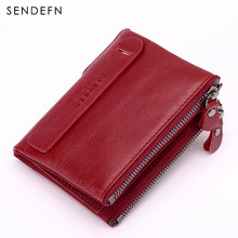 SENDEFN Genuine Leather Women Wallet Female Short Cowhide Purse Small Red Wallet Zipper Design With Two Coin Purse Pocket 5203-7(China)