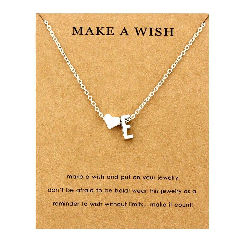 Сердце начальные Подвески ожерелье s персонализированное ожерелье с буквами Имя ювелирные изделия для женщин мужчин аксессуары подруги любовника пара подарок - Окраска металла: NE1659