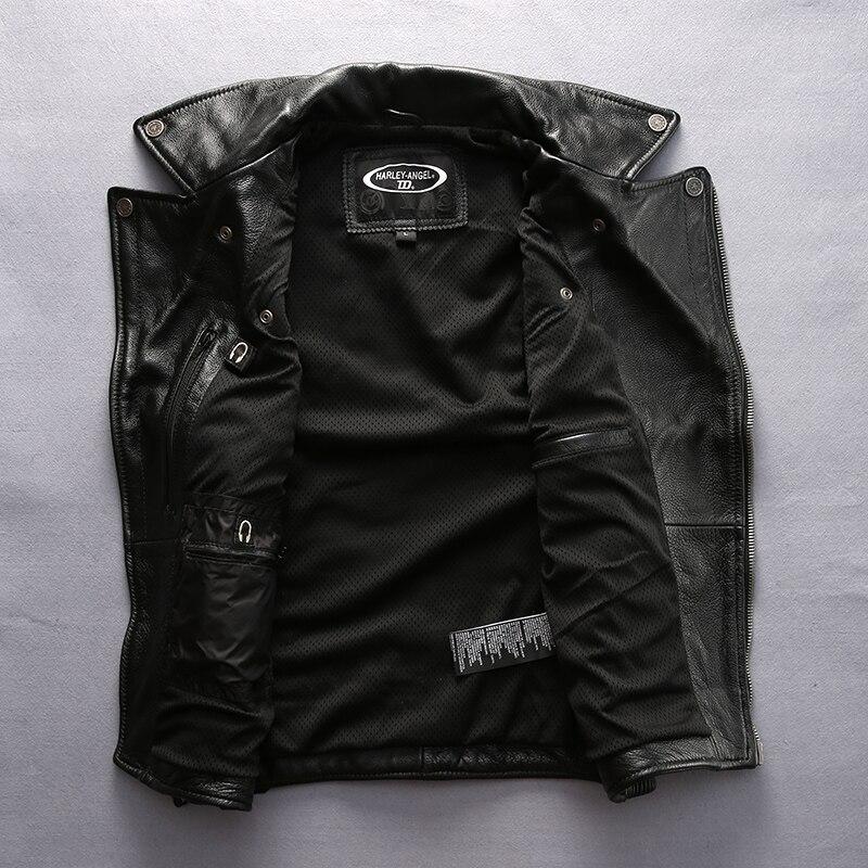 superkvalitativ För cool Harley rider Mens ko läderväst äkta - Herrkläder - Foto 4