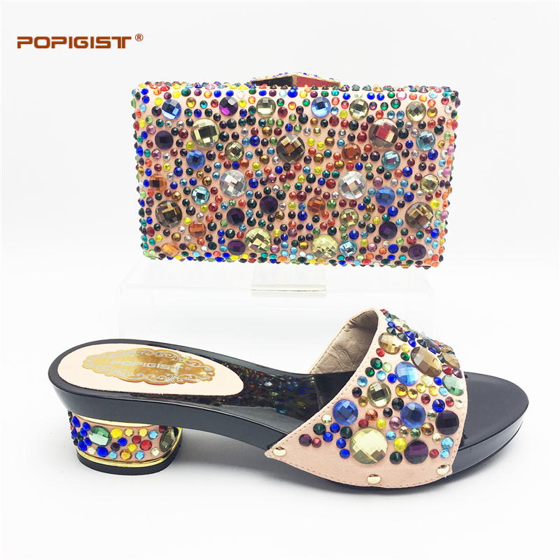 Black Short Comfortable heel Wedding Shoes and Bag Set with Shining  Rhinestone African Women Matching Italian Shoe and Bag Set-in Women s Pumps  from Shoes ... df5371b6a58a
