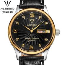 CADISEN fashion leather sports quartz watch for man military chronograph wrist watches men army style free shipping 9001